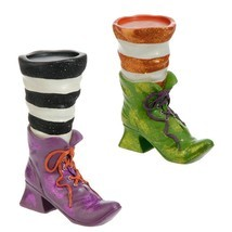 RAZ Halloween Witch Boot Candle Holder H3611106 Green Purple - $19.95
