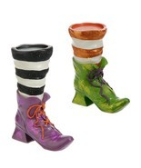 RAZ Halloween Witch Boot Candle Holder H3611106 Green Purple - £15.88 GBP
