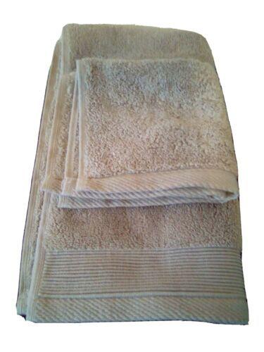 NATE & BERKUS 2Pc  Towel Set 100%Cotton 1 HAND Towel & 1 Washcloth  KHAKI TAN-