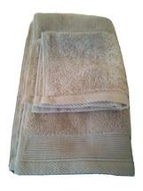 NATE & BERKUS 2Pc  Towel Set 100%Cotton 1 HAND Towel & 1 Washcloth  KHAKI TAN- image 1