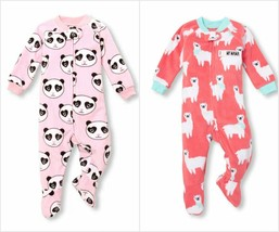 NWT The Childrens Place Panda Llama Girls Footed Fleece Blanket Sleeper Pajamas - $9.99