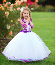 Purple Flower Girl Dress Lace Girl Dress Birthday Dress Baby Toddler Dress 2-8 y - $99.00