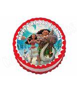 Princess Moana Round Edible Cake Image Cake Topper - $8.98+