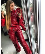 Winter Ski Suit Women Men Patent Shiny Glossy Wet Look Outwear Outfit Gl... - $270.00