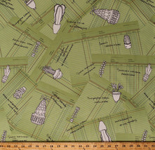 Succulents Plants Cactus Botany Field Study Cotton Fabric Print BTY D370.18 - $9.95