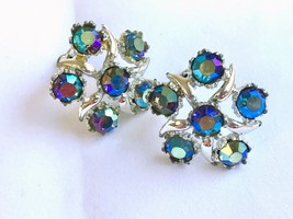 Vintage BSK Signed Silver-Tone aqua Aurora Borealis Starfish Clip-on Earrings - $21.82