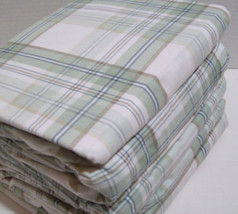NEW! Cuddl Duds Flannel Sheets Set TWIN Sage Green Tan Plaid Cotton Warm... - $44.54