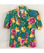 80s Women Jordan Michaels USA Summer Jacket Colorful Hawaiian Floral 6P  - $39.95