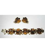 Vintage Large Amber Citrine Bracelet & Earrings Set C1313 - $47.31