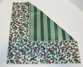 "Longaberger 17""  Reversible Accent Sqaure LinerSquare Holly & Green Stri... - $18.76"