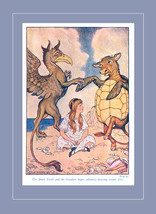 Alice with The Mock Turtle & Gryphon Alice in Wonderland Illustration by Milo Wi - $13.90