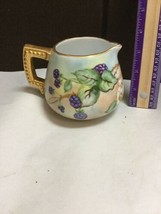 "Vintage 3 3/4"" Tall Creamer Pitcher With Gold Trim And Berry With Leaf D... - $57.09"