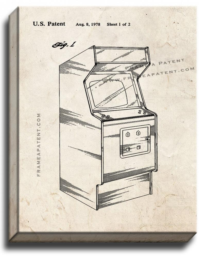 Primary image for Video Game Cabinet Patent Print Old Look on Canvas