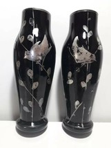 old Pair vases Black glass Hand-painted birds Silver - $157.41