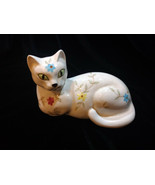 Enesco Vintage White Siamese Cat  with Hand-Painted Flower Design - $18.00