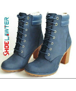 Timberland Women's Tillston High Heel Navy Blue Leather Boots Style A2B5H - $109.89
