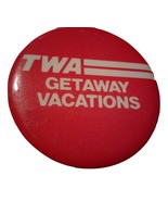 TWA Getaway Vacations Vintage Metal Pin Badge Trans World Airlines Travel  - $7.00