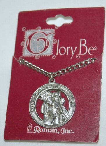 Roman Brand Saint Christopher Medallion Pendant Necklace Silver in Color
