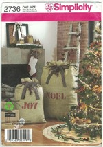 Simplicity 2736 Pattern Rustic Christmas Tree Skirt, Stuffed Owls, Stocking UC - $8.81