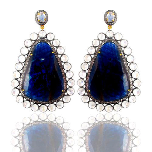 New Sapphire/Moonstone 14k Gold Pave Diamond 925 Silver Gemstone Dangle Earrings - $2,727.45