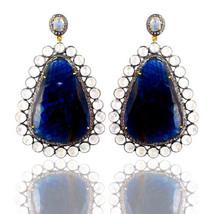 New Sapphire/Moonstone 14k Gold Pave Diamond 925 Silver Gemstone Dangle ... - $2,727.45