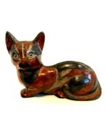 Cloisonne Cat Figurine Vintage Heavy Metal Kitten 7 inches Long Door Stop - $48.50