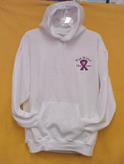 Breast Cancer Hoodie 5XL Pink Purple Ribbon 4 Cure White Sweatshirt Unisex New