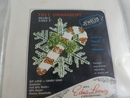 """Vintage Do it yourself Jeweled Needlework Christmas Ornament kit 6"""" cand... - $12.86"""
