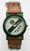 Bulova Watch Unisex NY Jets Stainless Green Leather Brown Water Res Whit... - $33.46