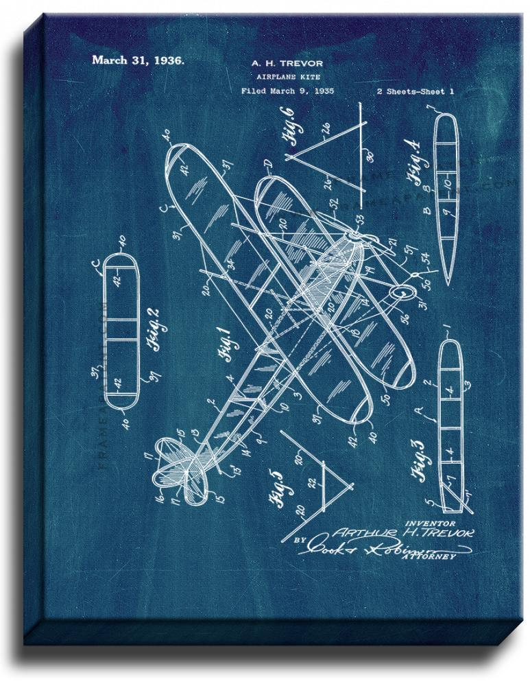 Primary image for Airplane Kite Patent Print Midnight Blue on Canvas
