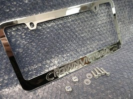 1 Ford Crown Victoria VIC Chrome Engraved Metal License Plate Frame W Logo Caps. - $18.80