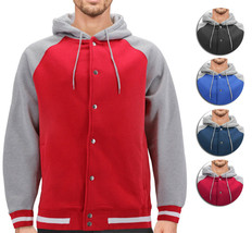 Men's Fleece Varsity Sweatshirt Letterman Sports Raglan Button Up Hoodie Jacket