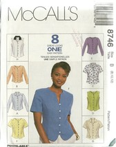 McCall's Sewing Pattern 8746 Misses Womens Top Blouse Size 8 10 12 New U... - $6.99
