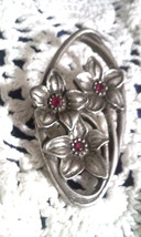 Vintage 1988 Seagull Pewter Canada Red Rhinestone Flowers Pin Brooch - $2.85