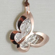 18K ROSE & WHITE GOLD BUTTERFLY PENDANT, CHARMS, FINELY WORKED, MADE IN ITALY image 1