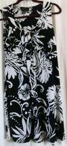 Style&Co Dress S Black White Sleeveless Empire Waist Floral Knee Length - $14.21
