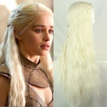 New Anime Daenerys Targaryen Long Golden Curly W/ Braids Cosplay Cos Wig... - $19.79