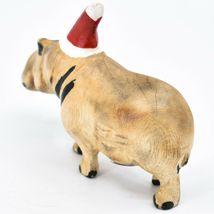 Hand Carved & Painted Jacaranda Wood Santa Hat Hippopotamus Christmas Figurine image 3