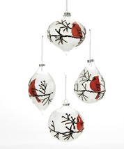 Set of 4 Frosted White Cardinal Design Christmas Ornaments Glass