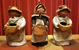3 Vintage Handcrafted Clay Figurines Singing Woman with Baskets Signed &... - $71.99