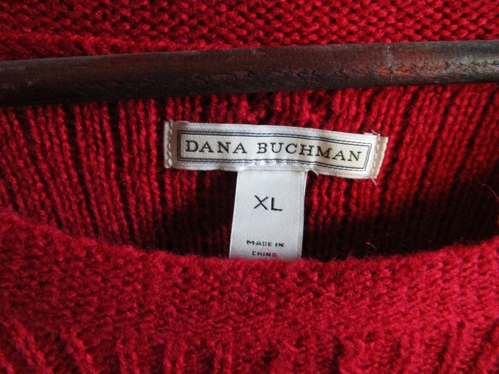 Women's Red Round Neck Dana Buchman Sweater, Size XL--FREE Priority Shipping! image 3