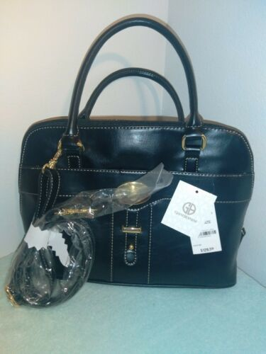 Giani Bernini Glazed Faux Leather Dome Bag Purse w/Detatchable Strap Black  NEW-