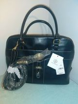 Giani Bernini Glazed Faux Leather Dome Bag Purse w/Detatchable Strap Black  NEW- image 1