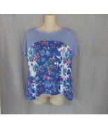 Hannah top tee Large blue print scoop neck dolman cap sleeves hi-lo - $8.77