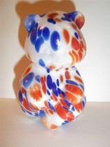 Fenton Glass Fetty Red White & Blue Patriotic Hollow Blown Sitting Bear Gse! - $174.12