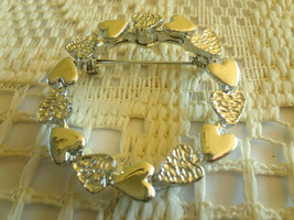 Vintage Signed Gerry's Silver Tone Heart Wreath Brooch Pin  - $3.00