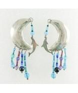 Duke Sterling Silver Half Moon Dangling DOLPHIN Glass Bead Drop EARRINGS... - $65.00