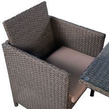 Garden Rattan Set 3pcs Table Chairs Cushioned Outdoor Patio Small Dining Set  image 4