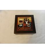 Dark Brown Wooden Trinket Box with Cabernet Wine Ceramic Picture - $37.13