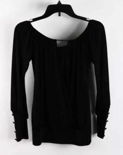 Bebe Black Long Sleeve Faux-Wrap Off Shoulder Tie On Blouse SzXS